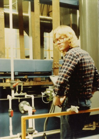 Tom Beckwith on the brass plating line, shortly after its installation at the Remico facility.