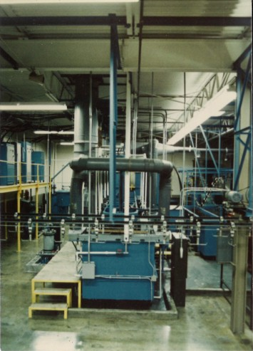 Image of the brass plating line, when it was newly installed.